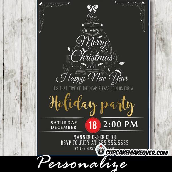 Company Holiday Party Invitations Black White Christmas