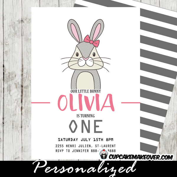 bunny birthday invitations girls pink
