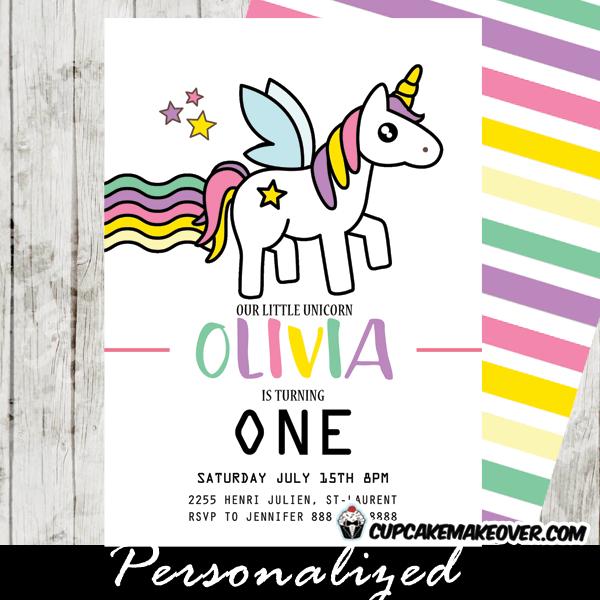 rainbow unicorn party invitations
