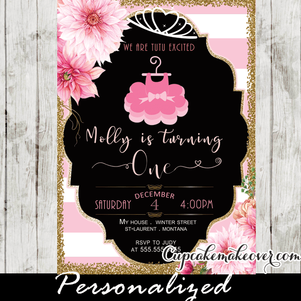 Tutu Party Invitations Floral Pink Gold Ballerina