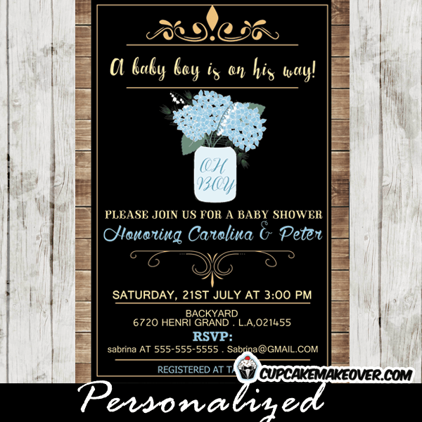 Mason Jar Shower Invitations Baby Blue