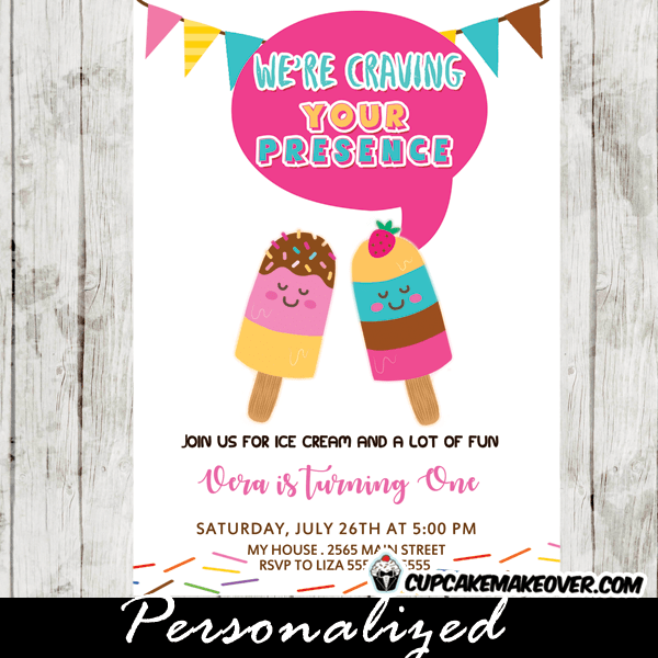 Popsicle Party Invitations Colorful Summer Ice Cream Birthday Cupcakemakeover