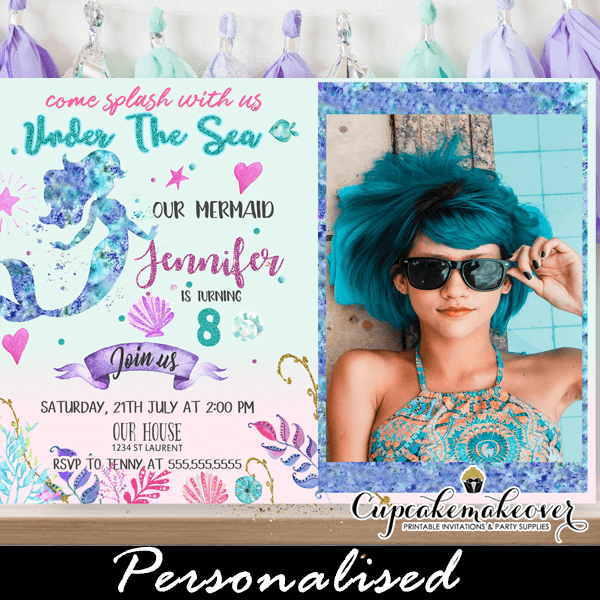 mermaid birthday invitations with