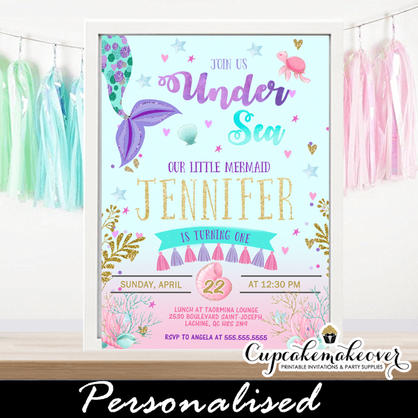 Pink Ombre Under The Sea Mermaid Tail Invitations