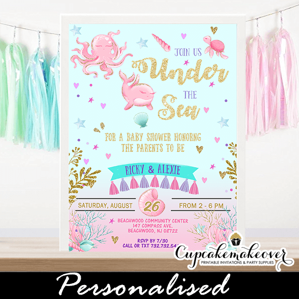 Pink Gold Under The Sea Baby Shower Invitations