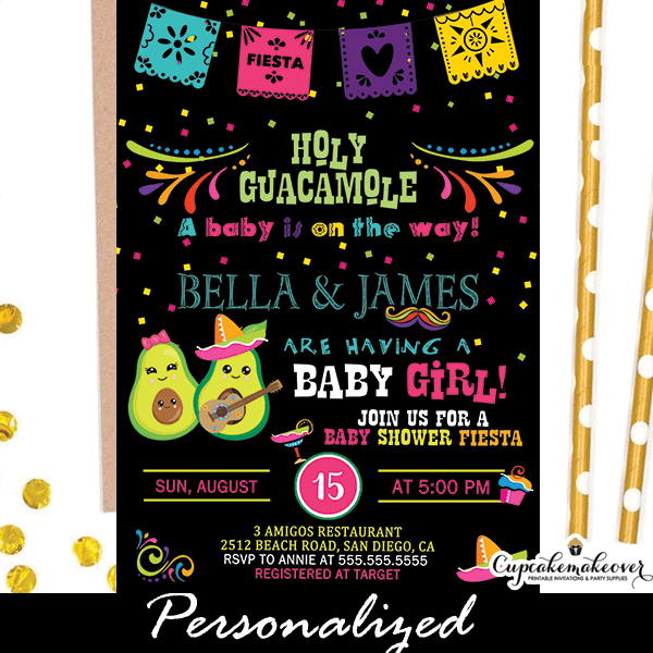 Holy Guacamole Baby Shower Invitations