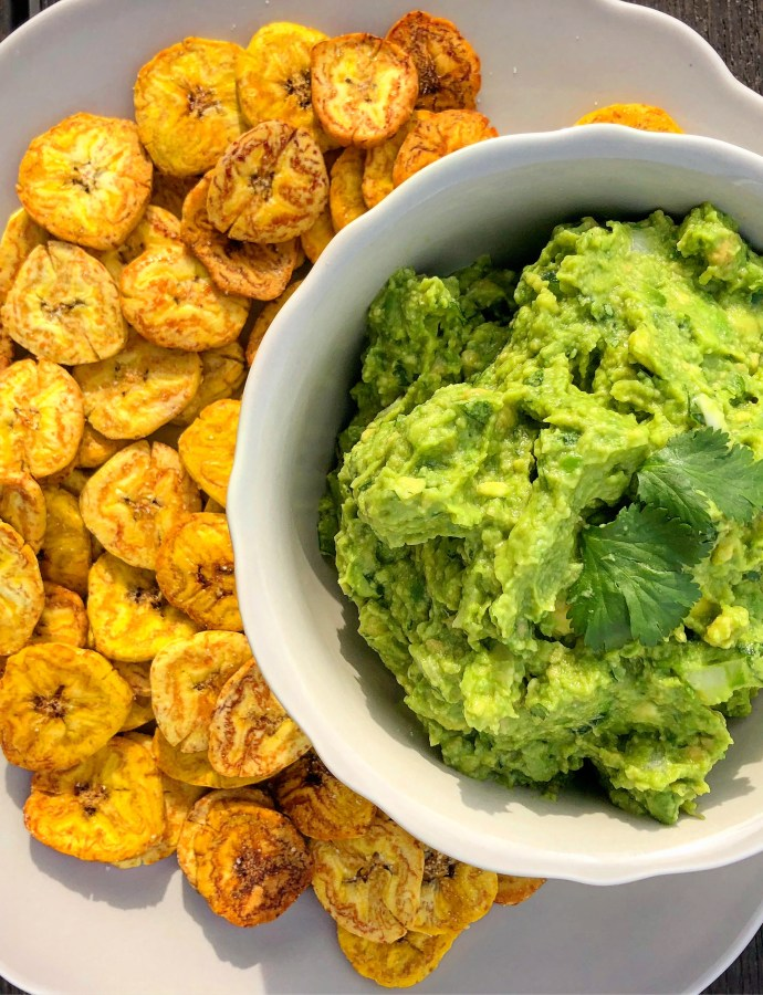 Baked Plantain Chips with Guacamole