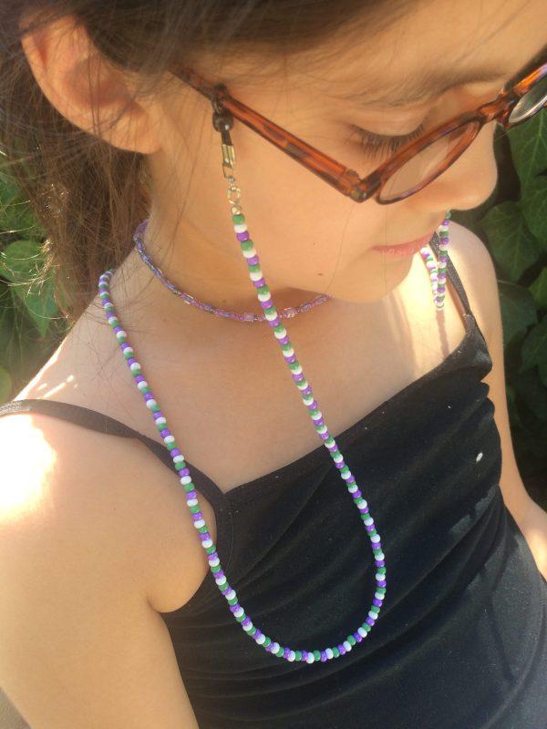 purple green white beaded eyeglass holder