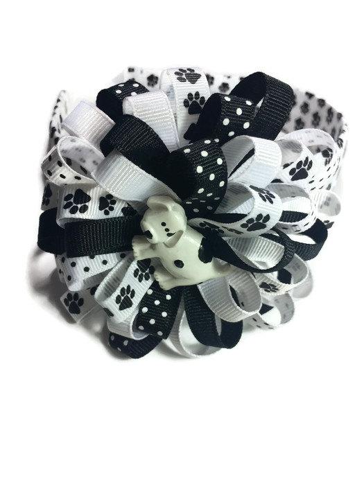 Dog Paw Print Hair Bow Headband