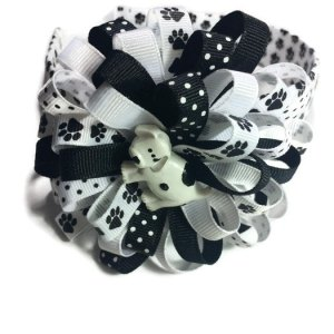 Dog Paw Print Hair Bow Headband