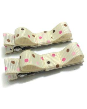 Ivory Dots Tuxedo hair bows