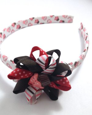 Cupcake Stripe Hair Bow Headband