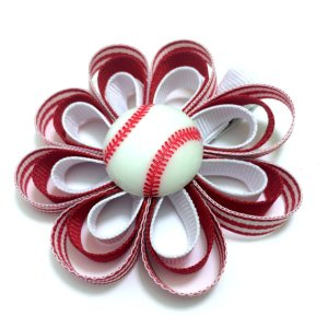 Baseball Ribbon Sculpture Hair Bow
