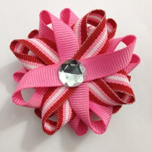 Valentines Day Stripes Hair Bows