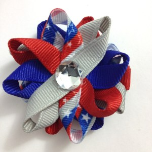red blue silver stars hair bows