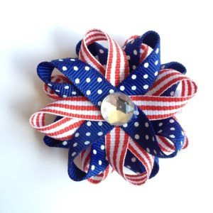 red white blue stripe hair bows