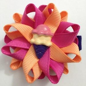 Purple Ice Cream Cone Hair Bows