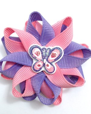 rose lilac butterfly hair bows