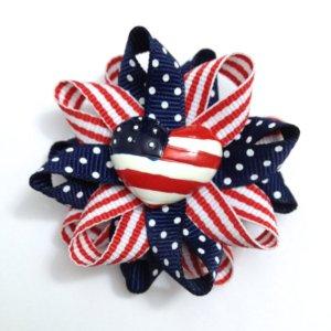 American Flag Hair Bow- July 4th