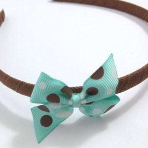 Aqua Dots Pinwheel Bow Headband