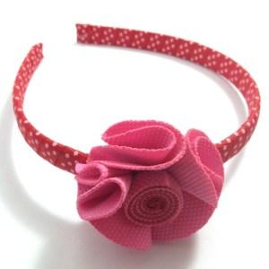 Pink Fabric Flower Headband