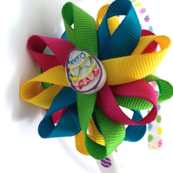 Easter Egg Hair Bow Headband