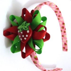Strawberry Hair Bow Headband