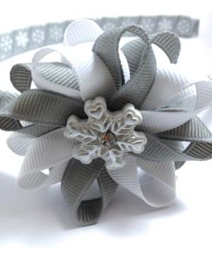 Snowflake Hair Bow Headband