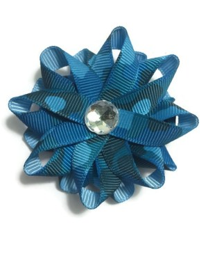 Blue Camouflage Hair Bows