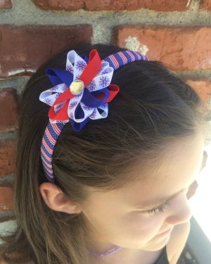 Fireworks American Flag Hair Bow Headband