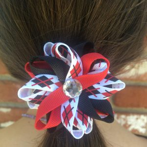 Red black plaid hair bow
