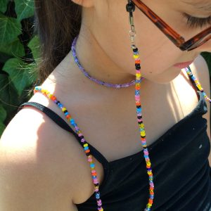 Coral reef beaded eyeglass holder