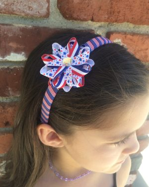 Stars Stripes American Flag Hair Bow Headband