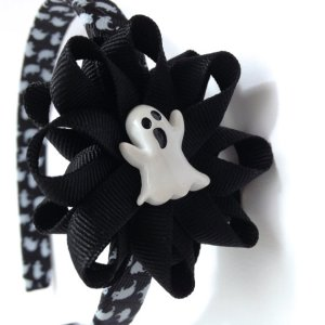 Black White Ghost Hair Bow Headband