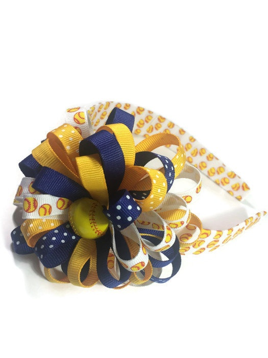Softball Hair Bow Headband