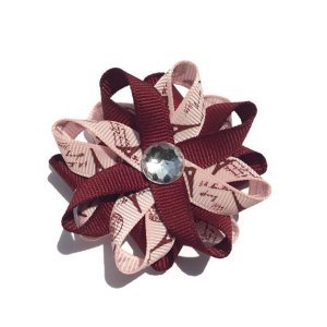 Burgundy Eiffel Tower Paris Hair Bows