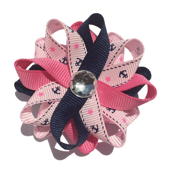 Pink nautical anchor Hair Bows