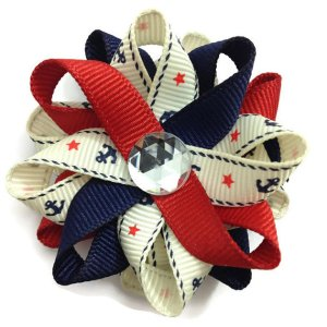 Ivory nautical anchor Hair Bows
