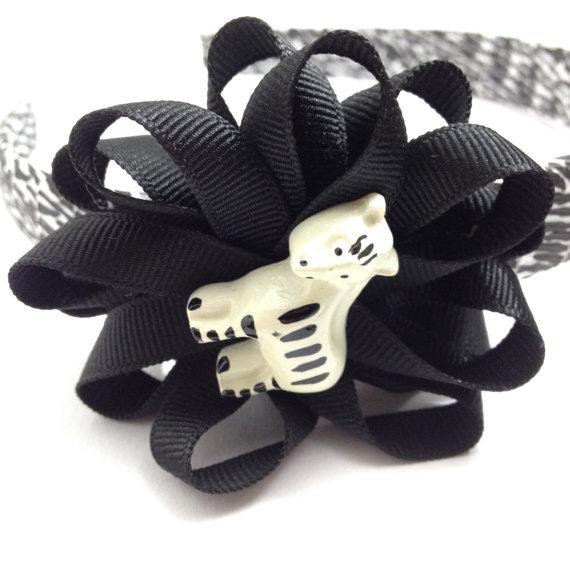 Zebra Hair Bow Headband