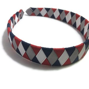 Navy, Silver, Red, White Woven Headband