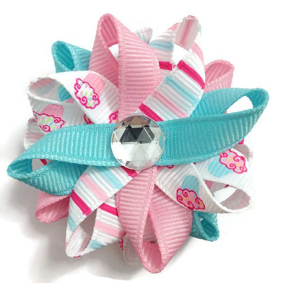 Pink Cupcake Stripe Hair Bows