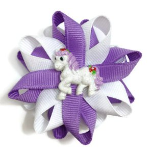 Purple Glitter Horse Hair Bows