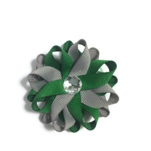 Emerald Green Silver Hair Bows