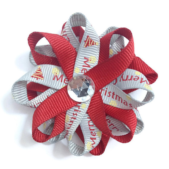 Red Merry Christmas Hair Bows