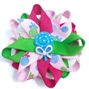 Blue Lollipop Candy Hair Bows