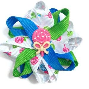 Pink Lollipop Candy Hair Bows
