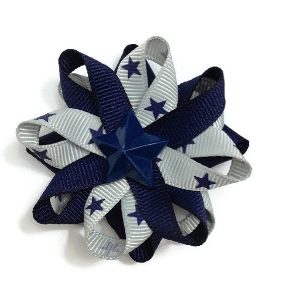 Silver Navy Stars Hair Bows