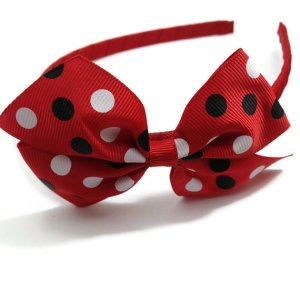 Red Dots Pinwheel Bow Headband