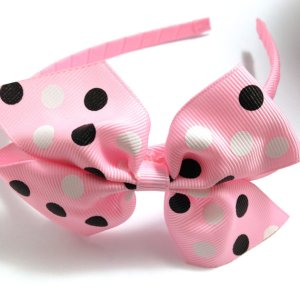 Pink black white Dots Pinwheel Bow Headband