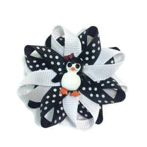 black white penguin hair bows
